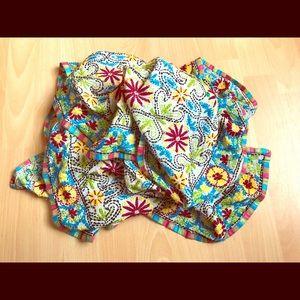 VTG 100% Cotton-Silk Hand-Embroidered Scarf